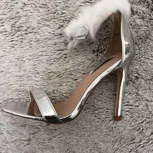 736ebea4a0f Shoes - Silver open toe furry ankle strap heels